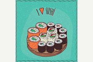 Set of different sushi rolls Maki