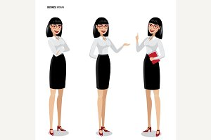 Set of isolate business women