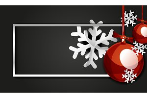Christmas balls, Happy New Year banner, black background