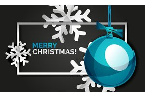 christmas balls happy new year banner