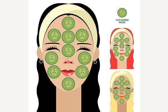 Women With Cucumber Facial Mask