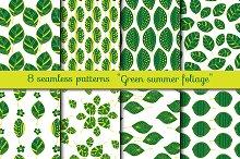 Green Foliage. Seamless patterns
