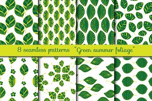 Green Foliage. Seamless patterns