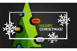 New Year Christmas tree banner, black background