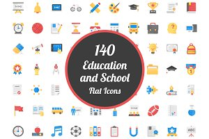 140 Education and School Flat Icons