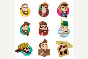 Set of flat icons with men heads