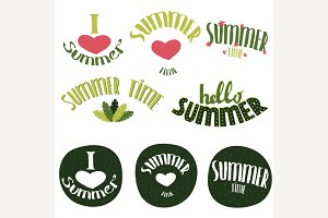 Set of summer lettering
