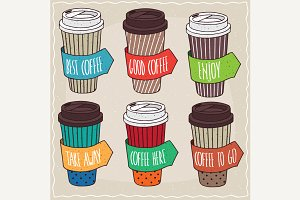 Set of trendy paper cups of coffee