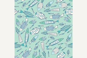 Soft blue pattern with fishes