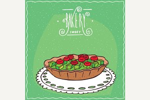 Tartlet with berries and kiwi
