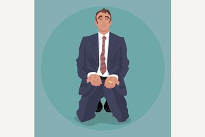 Businessman kneeling and begging