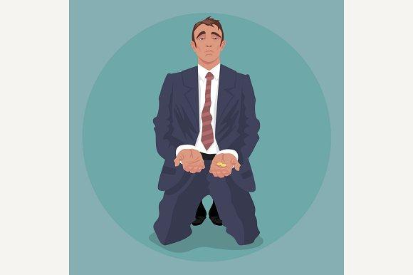 Businessman Kneeling And Begging