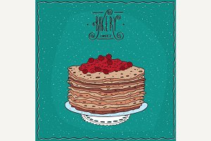 Thin pancakes with red berries