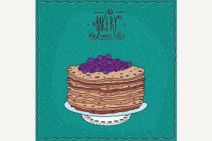 Thin pancakes with blue berries