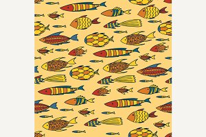 Yellow pattern with shoal of fishes