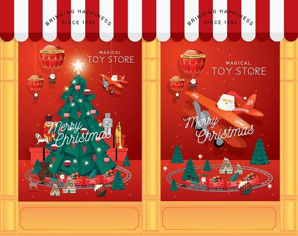 Toy Store Christmas Window Display