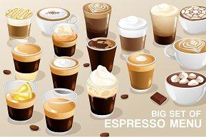 Big Set of Espresso Menu