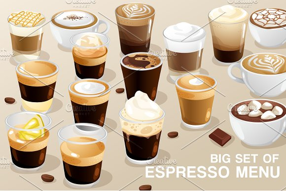 Big Set Of Espresso Menu