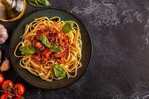 Italian pasta bolognese.