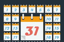 Calendar with days of month.