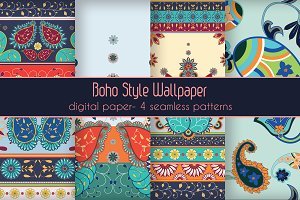 4 Seamless Boho Vector Pattern