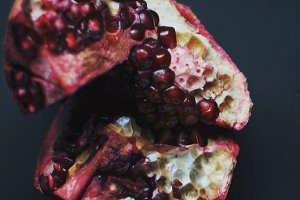 Dissected pomegranate on pieces