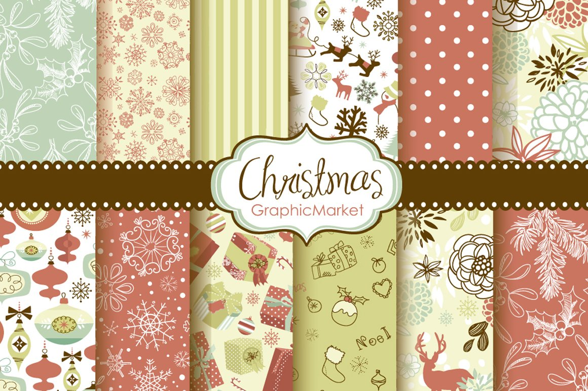 christmas scrapbook retro paper pack graphic patterns creative