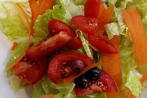 Salad of lettuce, carrots and tomato