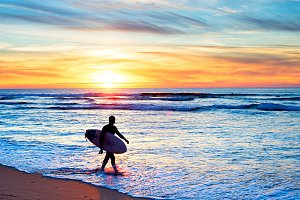 Surfer, wave, sunset