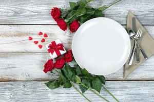 Valentine Dinner Setting with Gift