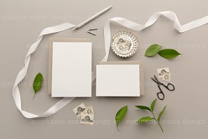 Grey Stationery Lay Flat Mock Up