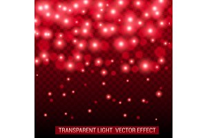 Transparent light vector effect. Bright, glowing, shiny festive decoration. Red color.