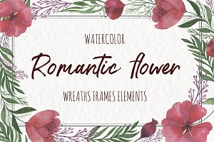 SALE! Watercolor Romantic Flower