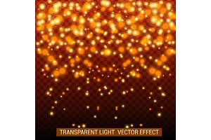 Transparent light vector effect. Bright, glowing, shiny festive decoration. Golden color.
