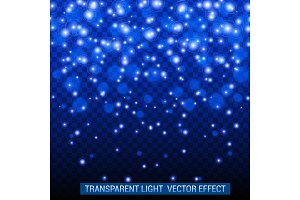 Transparent light vector effect. Bright, glowing, shiny festive decoration. Blue color.