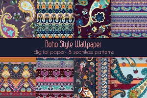 Boho Art Vector Seamless Pattern