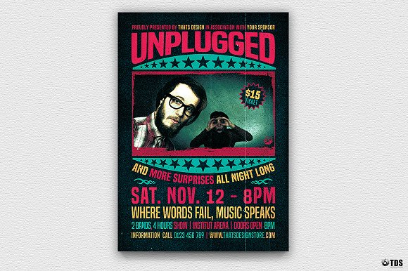 concert unplugged flyer template flyer templates creative market