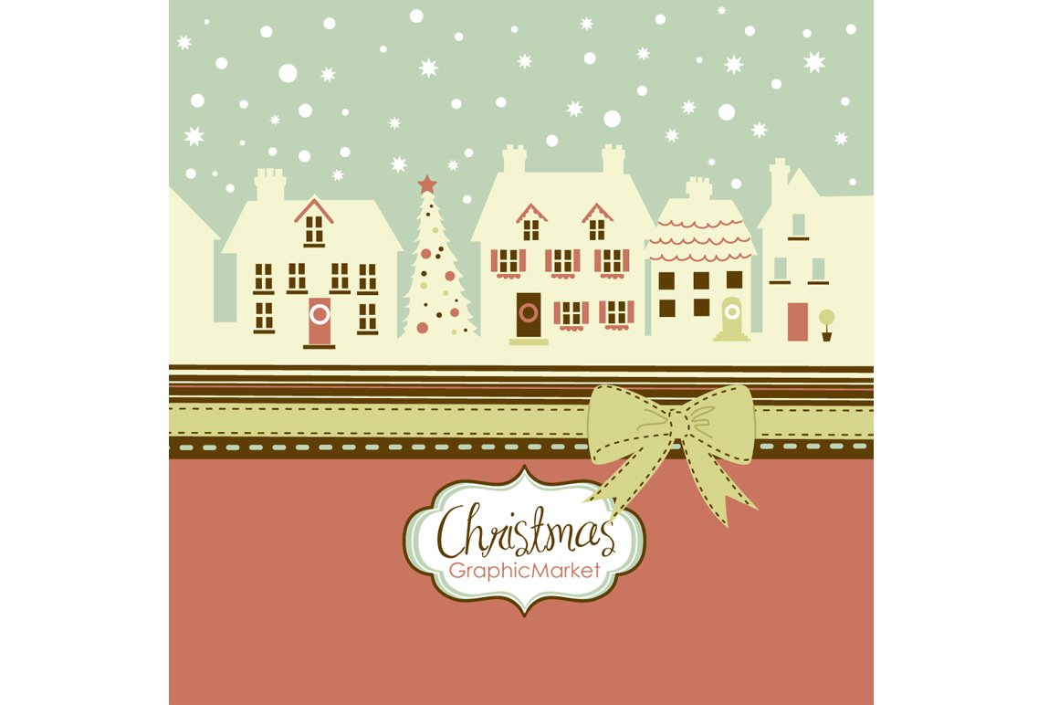Christmas, houses, frames and bows ~ Illustrations ~ Creative Market