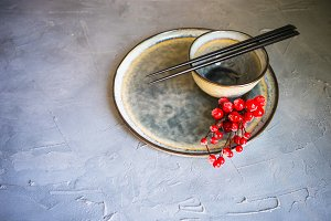 Rustic table setting for asian dinne