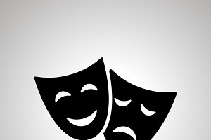Happy and sad theater masks