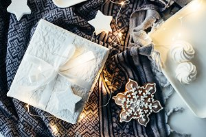 White Christmas gifts and decoration