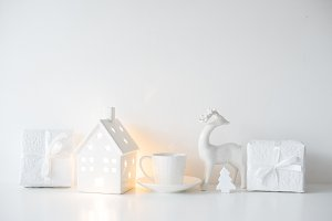 White Christmas gifts and interior