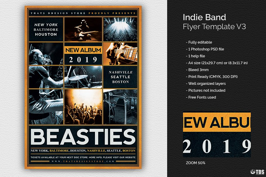 Indie Band Flyer Psd V3 Flyer Templates Creative Market Pro