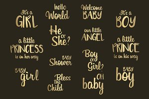 Baby Shower Gold Foil Word Art