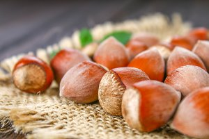 Walnut hazelnuts on a burlap on a brown wooden table.