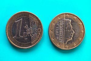 1 euro coin, European Union, Luxembourg over green blue