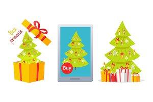 Set of Winter Holidaya Vectors with Christmas Tree