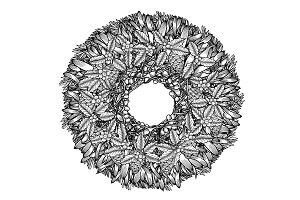 Christmas wreath illustration
