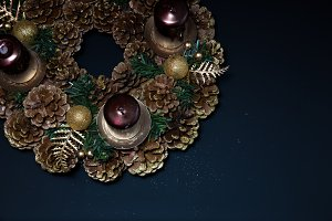 pine cone advent wreath & gold dust