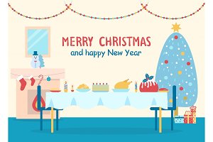 Merry Christmas Home Decor Vector Illustration